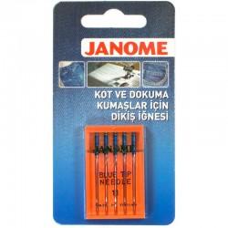 Janome - Janome Mavi Uçlu (Kot) Ev Tipi Makine İğnesi (5'li Paket)