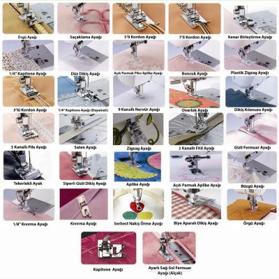 32 Parça Ev Tipi Dikiş Makine Ayak Seti (5 mm - Tayvan)
